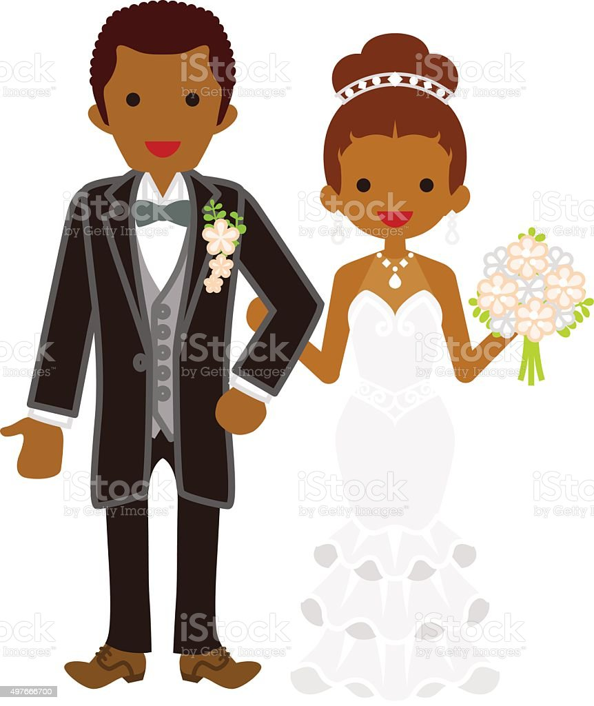 Wedding African couple vector art illustration