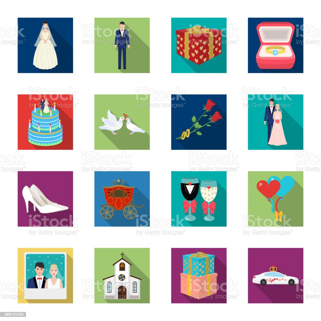 Bröllop och attribut platt ikoner i set samling för design. Nygifta och tillbehör vektor symbol lager web illustration. - Royaltyfri Bil vektorgrafik