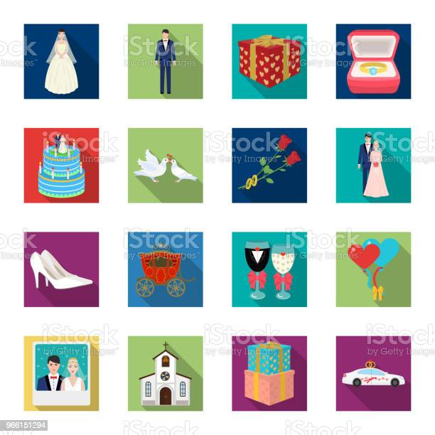 Bröllop Och Attribut Platt Ikoner I Set Samling För Design Nygifta Och Tillbehör Vektor Symbol Lager Web Illustration-vektorgrafik och fler bilder på Bil