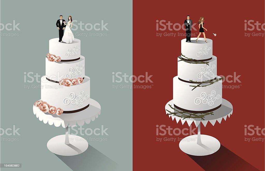 Bolos de casamento ou divórcio - ilustração de arte em vetor