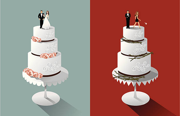 Wedding and Divorce Cakes Love turns to hate. Roses turn to thorns. Objects are grouped for easy editing. Bride and groom are very detailed. wedding cake stock illustrations
