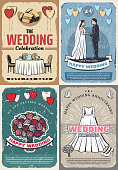 Wedding and marriage celebration vintage posters