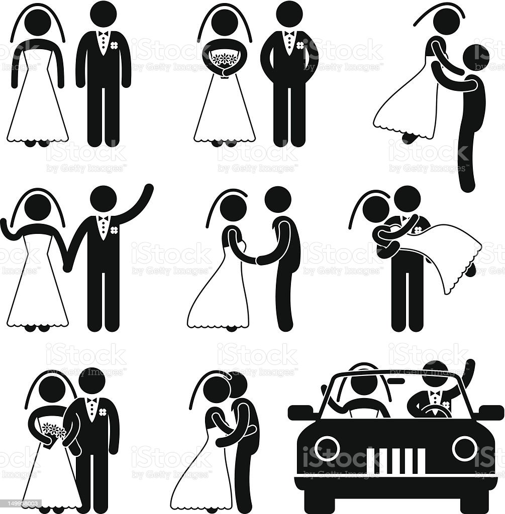 Wedding and Marriage Pictogram vector art illustration