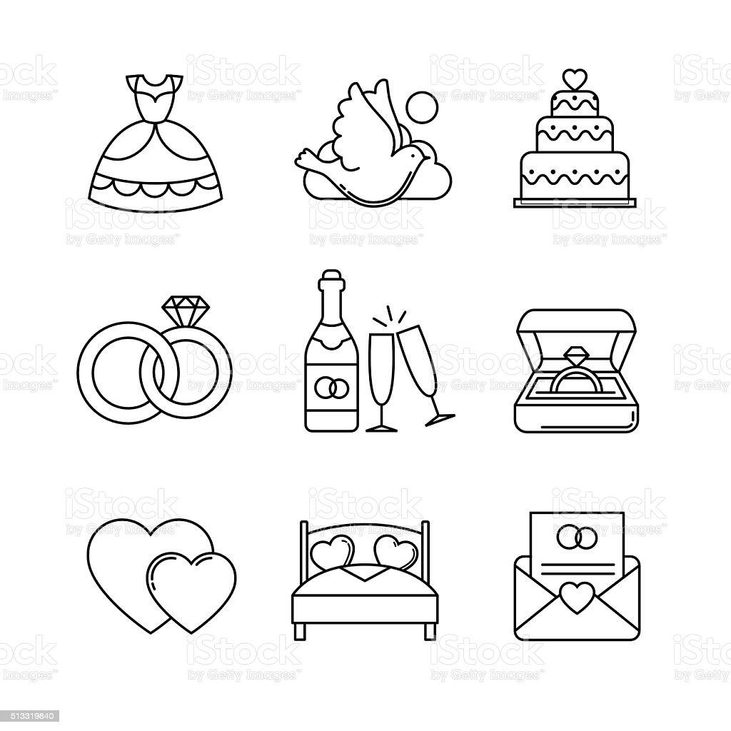 Hochzeits Und Ehe Dünne Linie Kunst Symbole Satz Stock Vektor Art ...