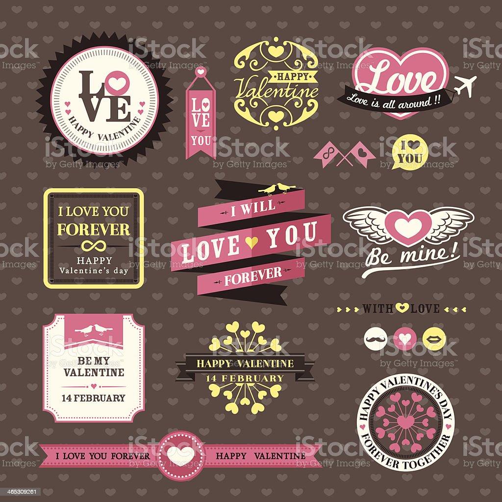 Hochzeit Und Valentinstagelemente Etiketten Frames Vintagestil ...