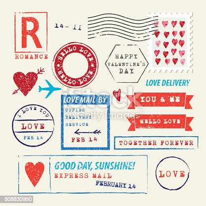 Wedding and Valentine's Day stamp set. Love letter symbols. Vector Illustration.EPS10, Ai10, PDF, High-Res JPEG included.