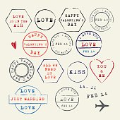 Wedding and Valentine's Day rubber stamps set. Love letter symbols. Vector Illustration.EPS10, Ai10, PDF, High-Res JPEG included.