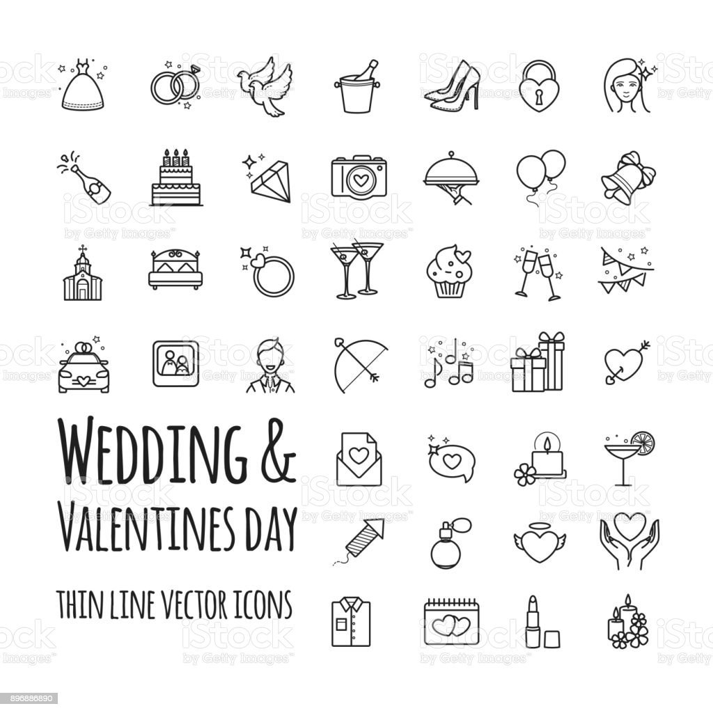 Wedding and Valentines day vector icons set vector art illustration
