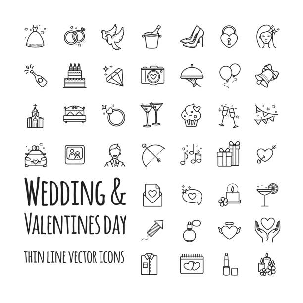 wedding and valentines day vector icons set - marriage stock illustrations