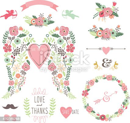 istock Wedding Angel Wing Vintage Flowers Wreath- illustration 470285768