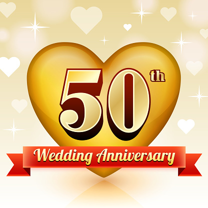 Wedding Anniversary Badge Red and Gold Collection Background