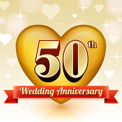 Wedding Anniversary Badge Red And Gold Collection Background-vektorgrafik och fler bilder på 50-54 år