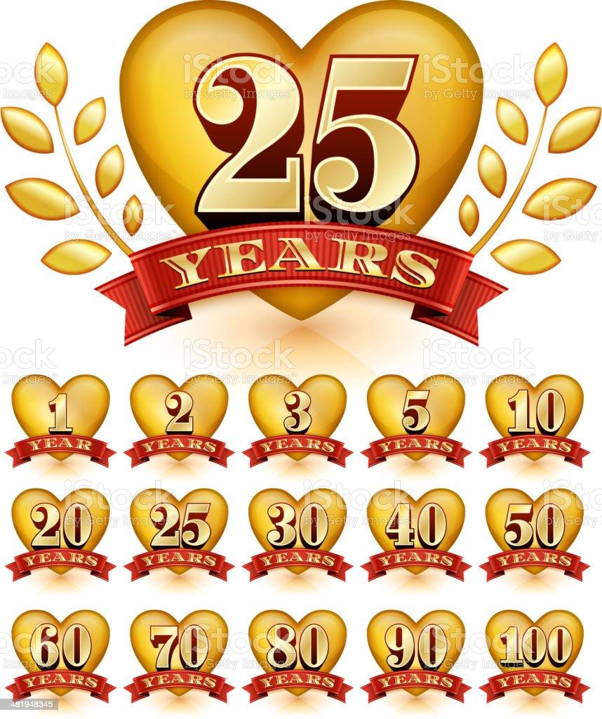 Wedding Anniversary Badges vector art illustration