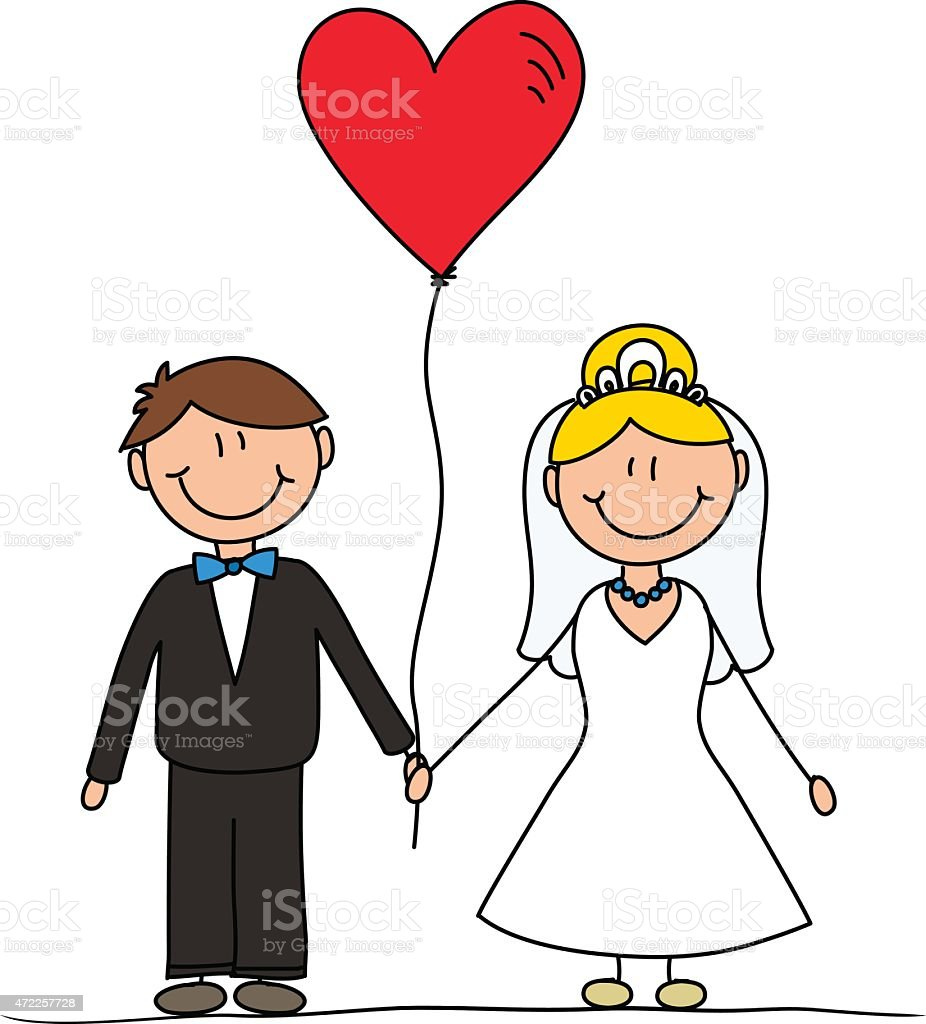 Wedding Announcement Card With Cartoon Drawing Of Couple