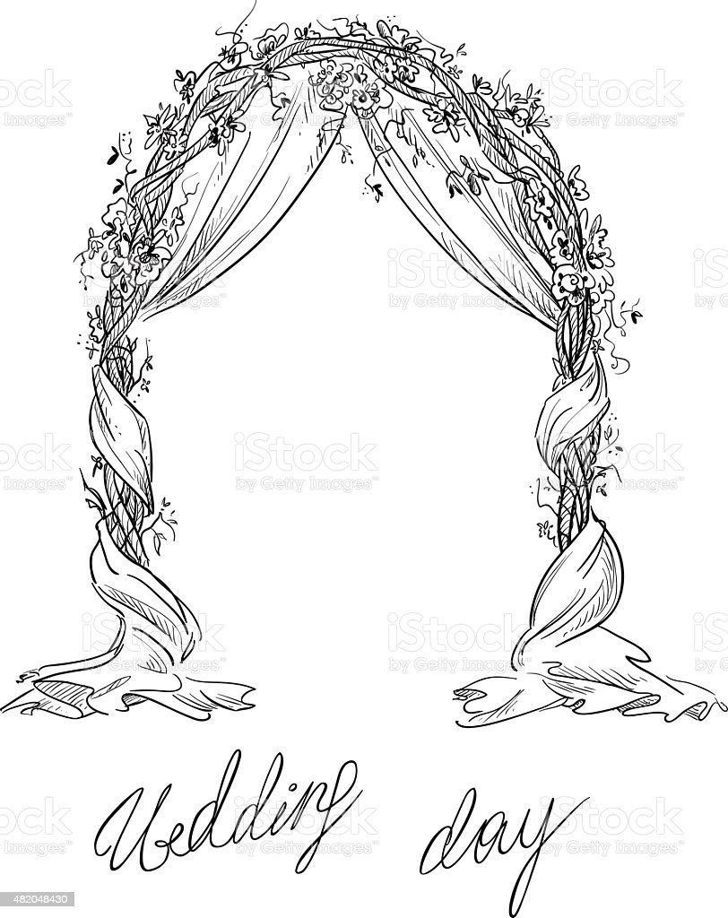 Wedding arch decoration vector sketch design element stock vector wedding arch decoration vector sketch design element royalty free wedding arch junglespirit Images