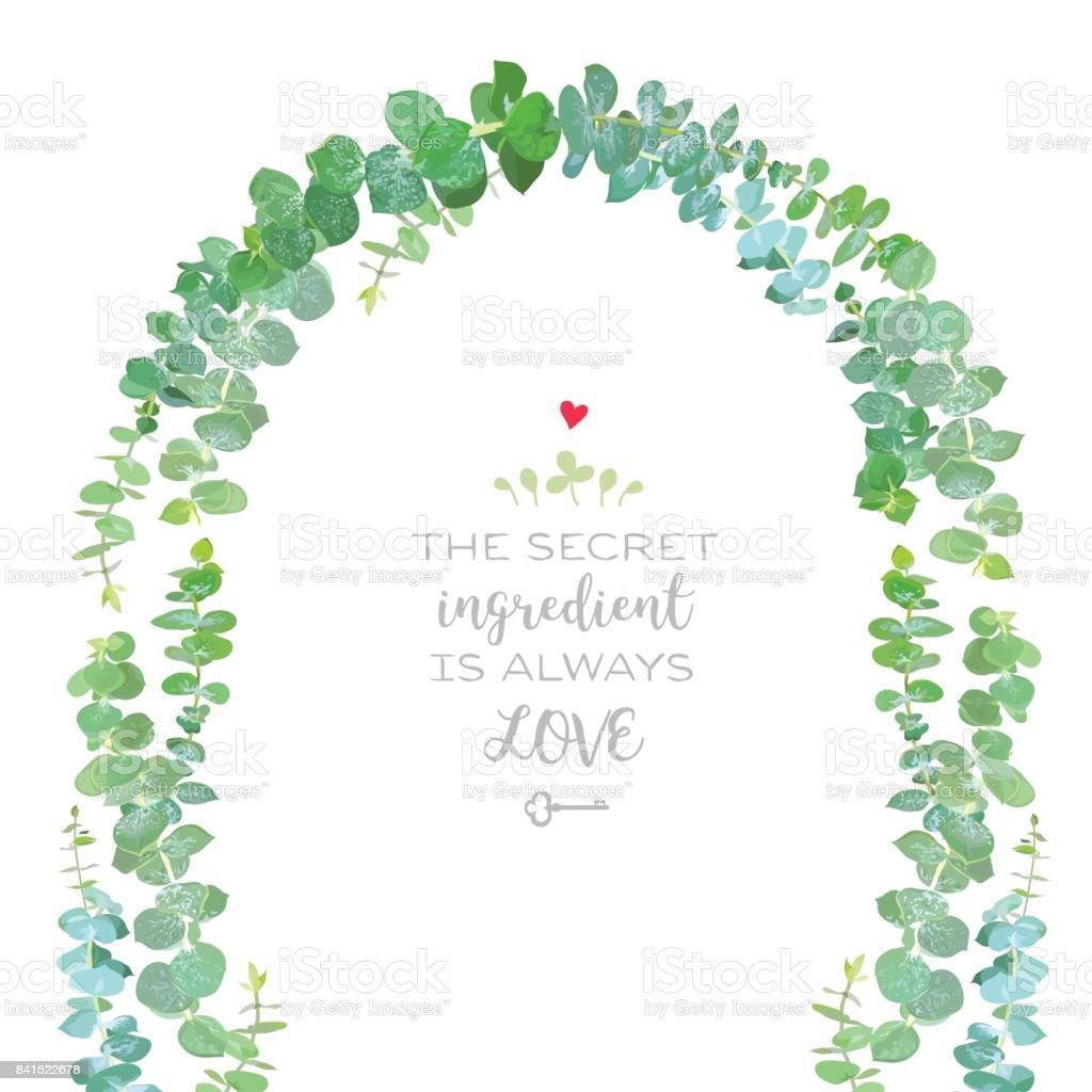 Wedding arch of baby blue eucalyptus branches vector design fram vector art illustration