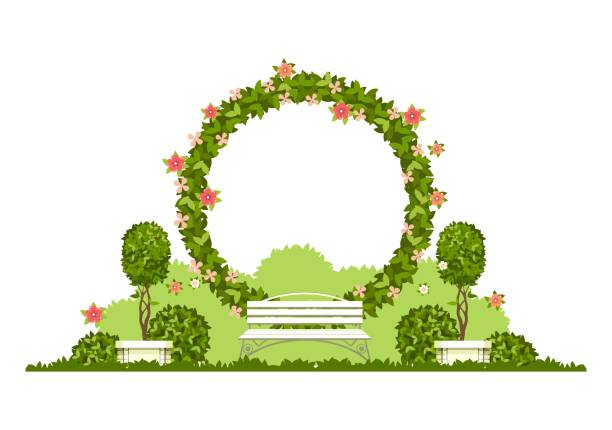 wedding arch vector Wedding arch on a white background of plant elements and flowers, park beautiful figures of topiary for a wedding ceremony in the shape of a heart natural arch stock illustrations
