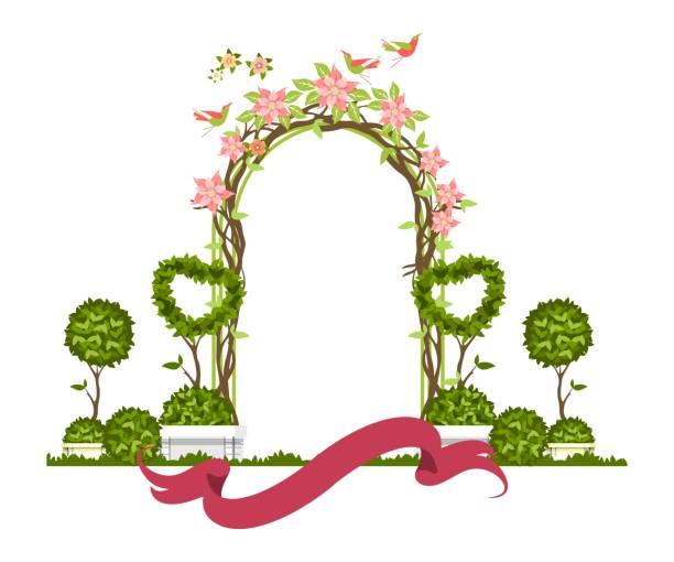 illustrations, cliparts, dessins animés et icônes de vector arche de mariage - réception en plein air