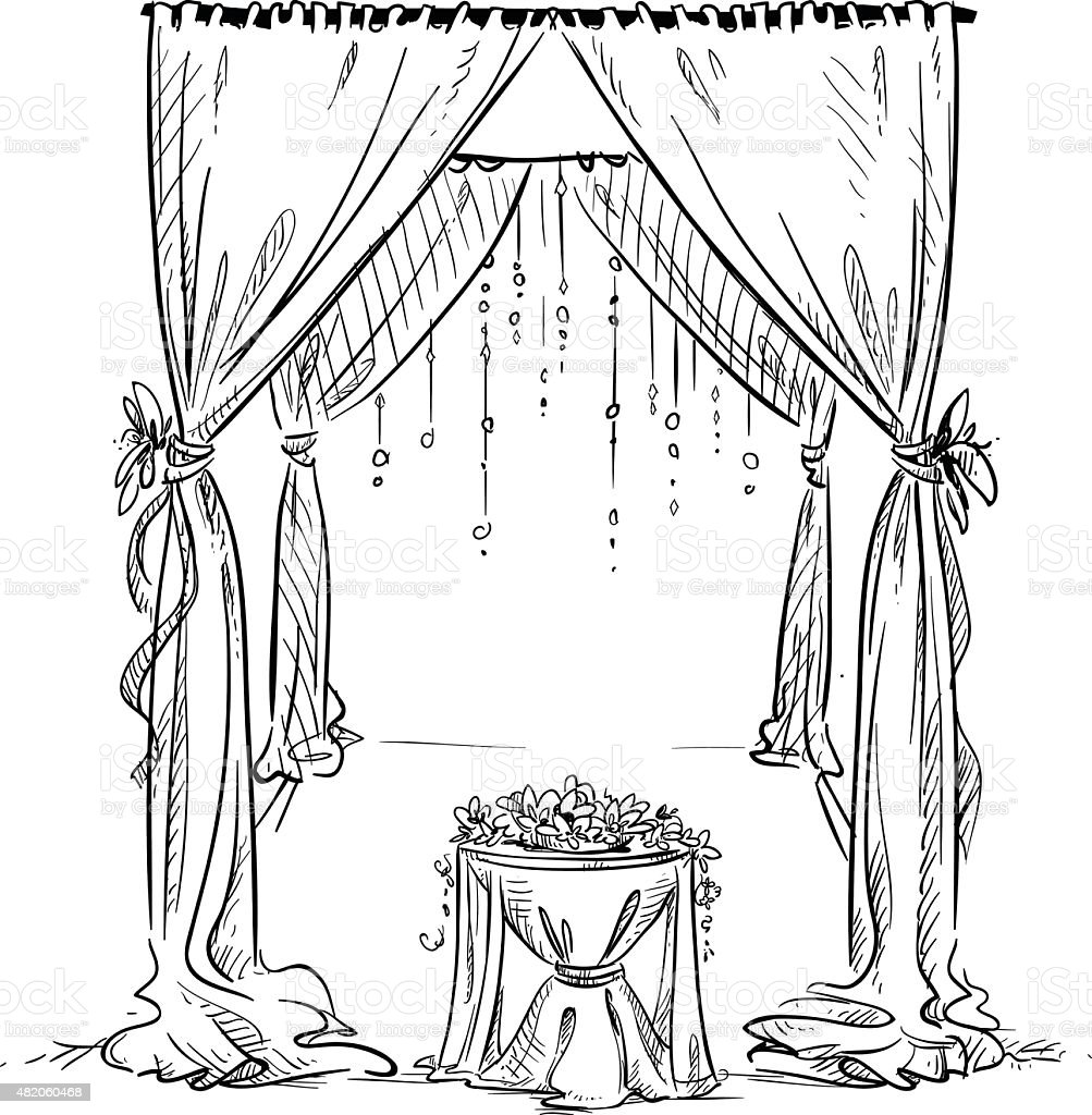 Wedding arch wedding altar decoration vector sketch design element wedding altar decoration vector sketch design element royalty free junglespirit Gallery