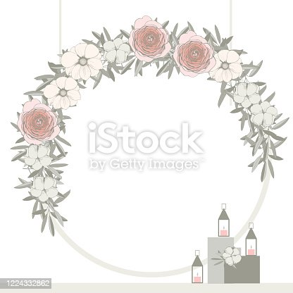 Wedding arch with flowers . Vector illustration.