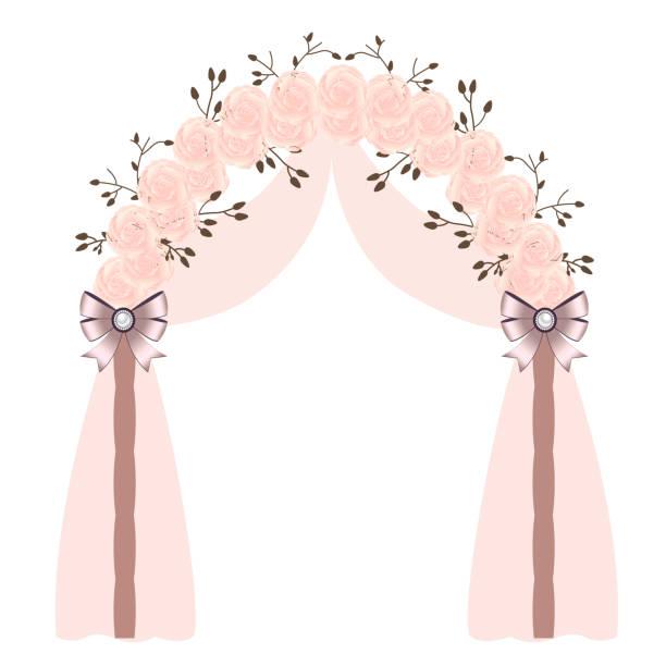hochzeit-bogen mit rosa rosen und schleifen, isoliert auf weißem hintergrund. - hochzeitsanstecker stock-grafiken, -clipart, -cartoons und -symbole