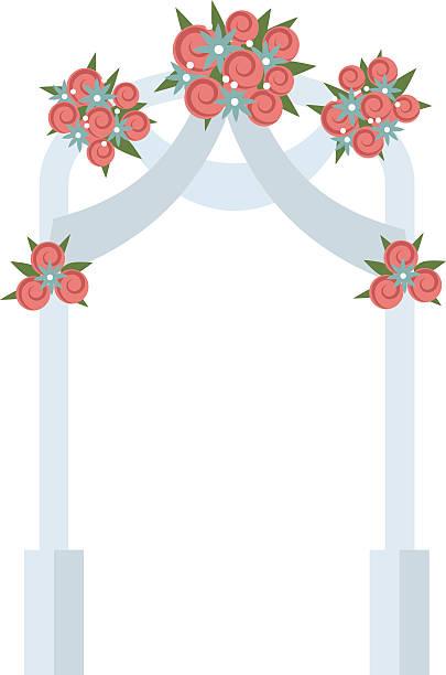 illustrations, cliparts, dessins animés et icônes de arche de mariage avec illustration de vecteur de rose roses - réception en plein air