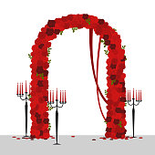 Wedding arch with red roses . Vector illustration.