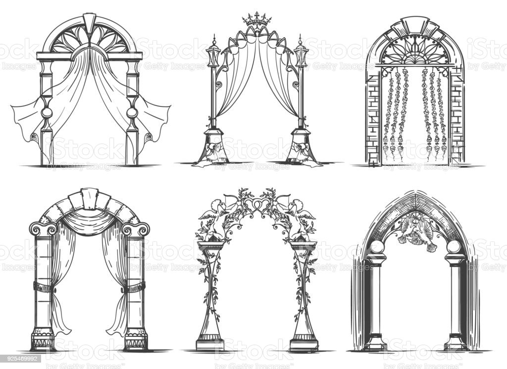 Wedding arches sketch set vector art illustration