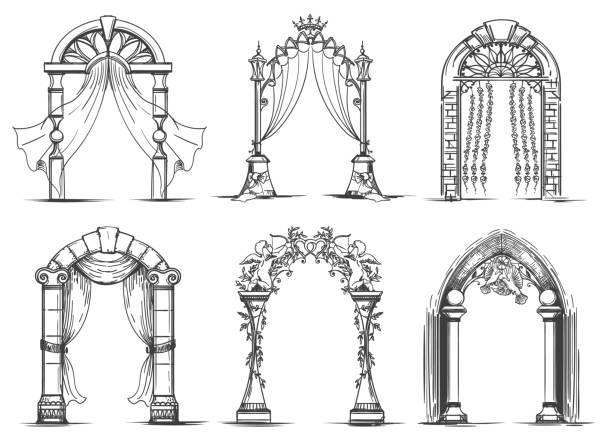 Jeu de mariage arches esquisse - Illustration vectorielle