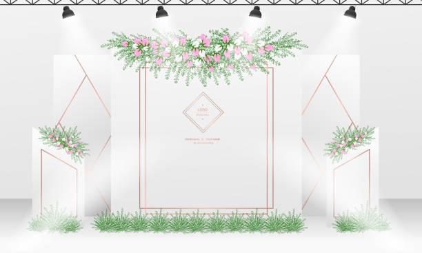 kulisse design-vorlage mit weißen und rostigen gold-farb-thema. - swag stock-grafiken, -clipart, -cartoons und -symbole