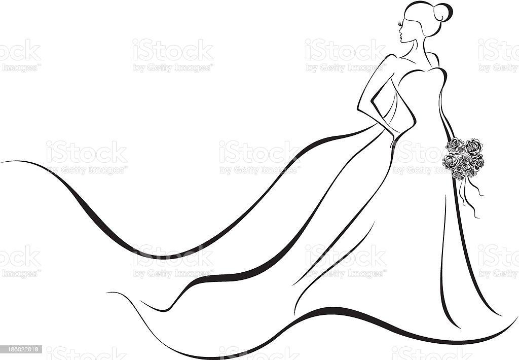 Wedding background - bride in floral dress vector art illustration