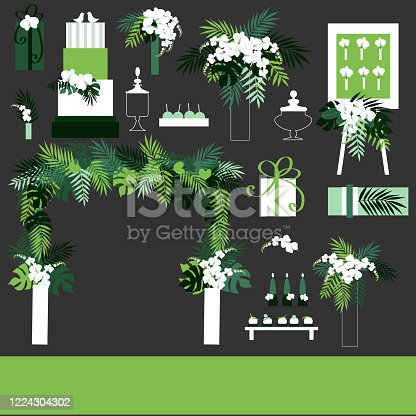Wedding background. Chairs,arch, cake, flowers,gifts, sweets.