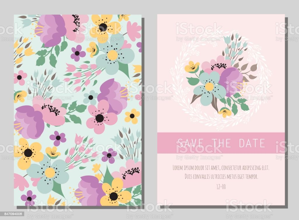 Wedding Background With Flowers Stock Illustration