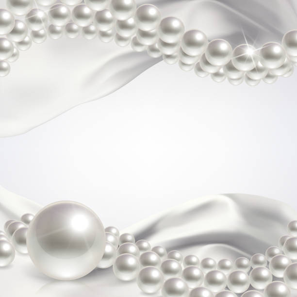 wedding background with pearls - pearl jewelry stock illustrations, clip art, cartoons, & icons