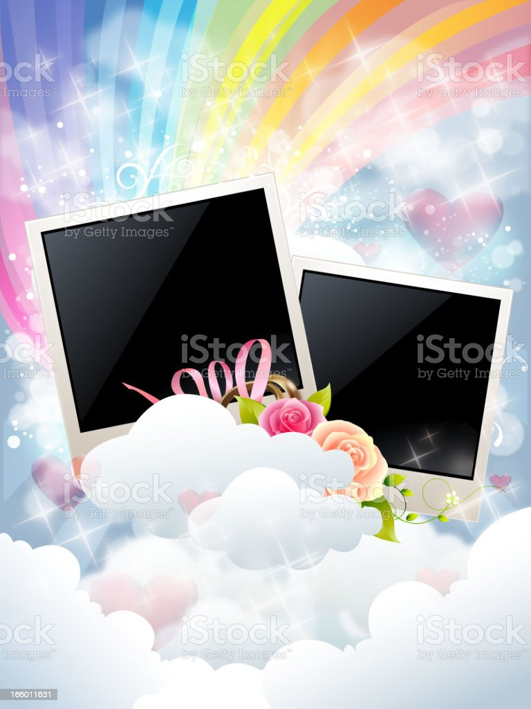 Wedding Background with Photo Frames royalty-free wedding background with photo frames stock vector art & more images of cloud - sky