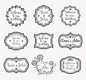 Vector illustraion of the wedding badges.