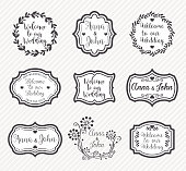 Vector illustraion of the wedding badges.