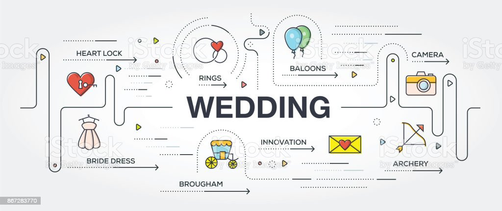 Wedding banner and icons vector art illustration