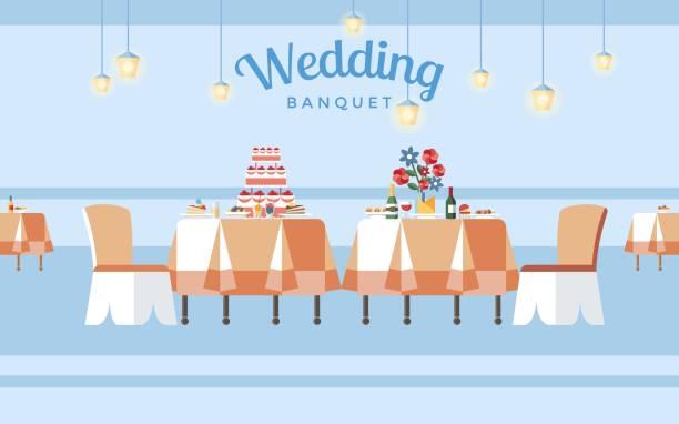 ilustrações de stock, clip art, desenhos animados e ícones de wedding banquet hall flat vector illustration - muita comida