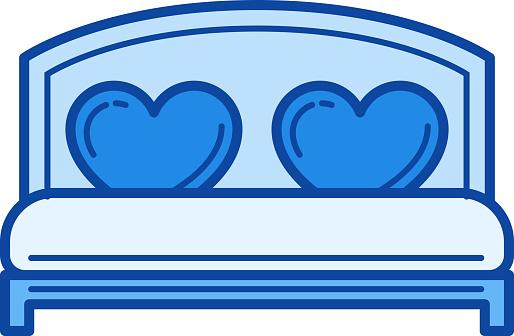 Wedding bed line icon