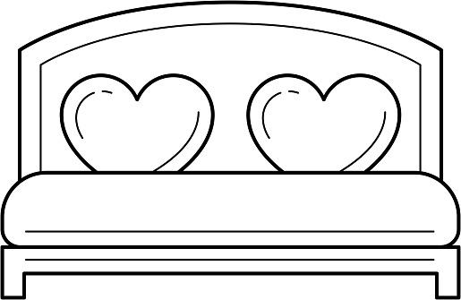 Wedding bed vector line icon