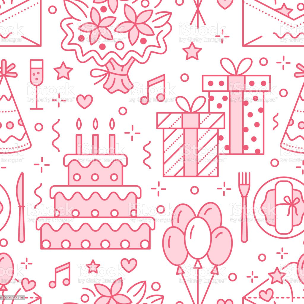 Wedding birthday party seamless pattern flat line illustration wedding birthday party seamless pattern flat line illustration vector icons of event agency stopboris Image collections