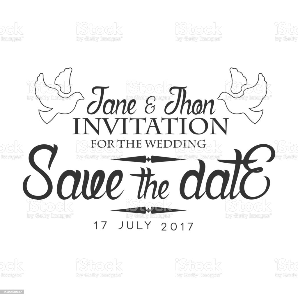 Wedding Black And White Invitation Card Design Template With