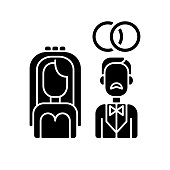 Wedding black glyph icon. Heterosexual relationship. Man and woman engagement ceremony. Bride and groom. Married couple. Silhouette symbol on white space. Vector isolated illustration