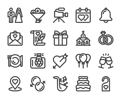 Wedding - Bold Line Icons
