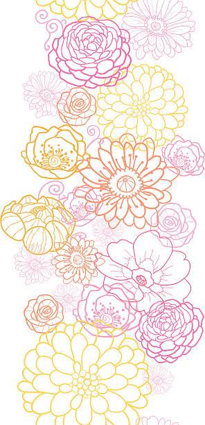 hochzeit bouquet-blumen nahtlose vertikalen ornament - clipart goldene hochzeit stock-grafiken, -clipart, -cartoons und -symbole