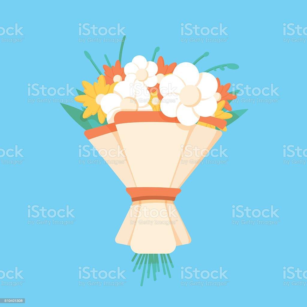 Wedding bouquet flowers vector illustration.