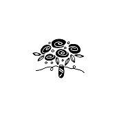 Vector hand drawn object, flower bouquet. Feminine logo element, romantic floral clipart. For florist or wedding related business branding and identity. Black on white isolated symbol.
