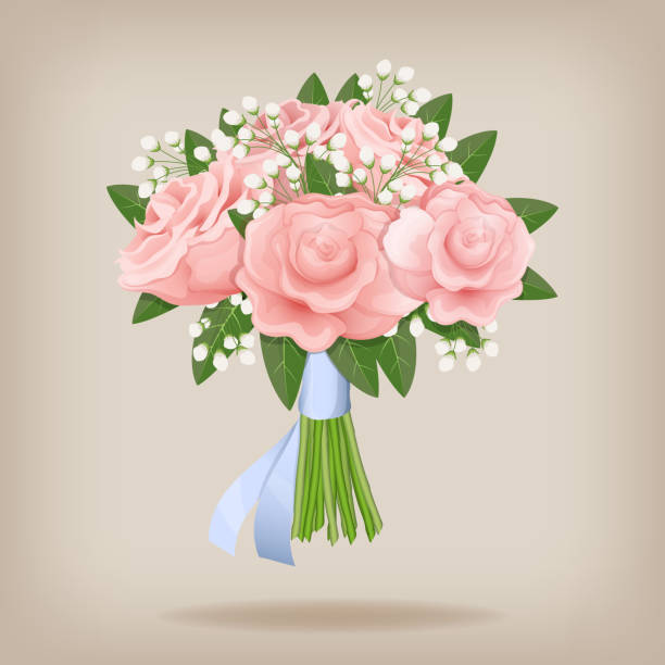 Wedding bouquet of pink roses. Wedding bouquet of pink roses. Vector illustration EPS10. trillium stock illustrations