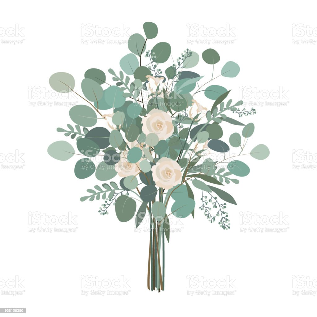 Wedding bouquet with rose flowers seeded and silver dollar wedding bouquet with rose flowers seeded and silver dollar eucalyptus greenery vector illustration royalty izmirmasajfo